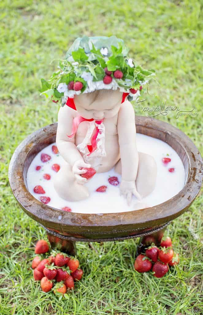 milk bath bath time strawberry baby bonnet